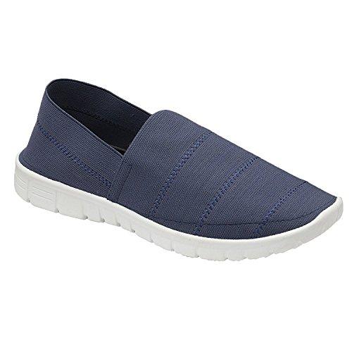 10e834e8ed0b7f Ladies Elasticated Stripe Canvas Slip On Memory Foam Plimsoll Walk Get Fit  Gym Trainers Go Shoes