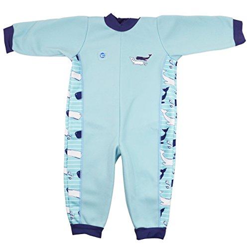 Splash About Jungen Ganzkörper Schwimmanzug, Blau Wal, 0-3 Monate, WIOVMS (Baby Jungen Schwimmen Kostüme 0 3 Monate)