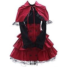 Kawaii-Story JL de 574 – 1 Rojo Classic Gothic Lolita Cape Blusa Rock Disfraz