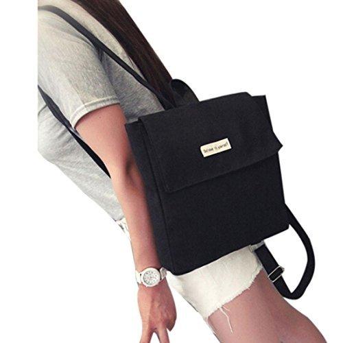 kingko® School Girl Canvas Bag Voyage Mignon Sac à dos Satchel Femmes épaule Rucksack noir