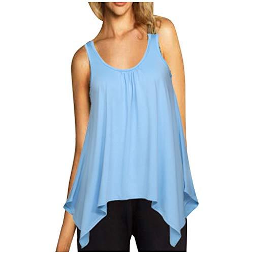Muyise Damen Tops Weste Plus Size ärmellos U-Ausschnitt lässig lose einfarbig unregelmäßiger Saum Leibchen Vest Unterhemd Bluse Oberteile(Hellblau,M) -