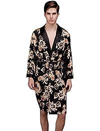 NiSeng mujer y hombre pijamas en seda conjunto bordado batas de casa