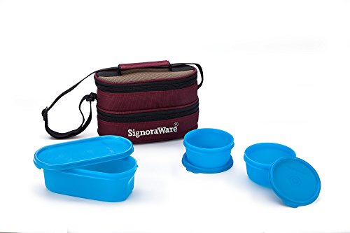 Signoraware Healthy Lunch Box with Bag, Blue
