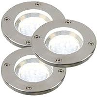 Nordlux 96430034 - Reflectores de suelo para exteriores, acero, 3 bombillas GU10 de 1,1 W