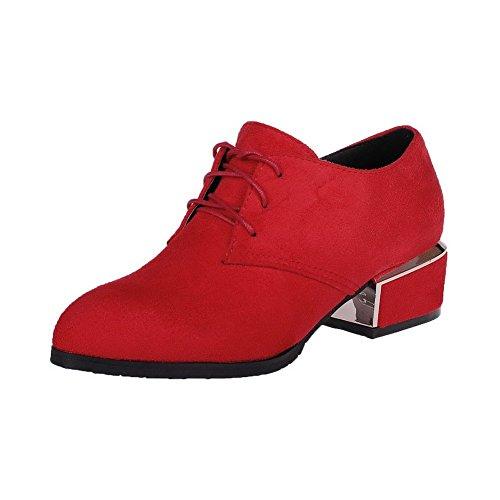 AgooLar Femme à Talon Bas Dépolissement Couleur Unie Lacet Pointu Chaussures Légeres Rouge