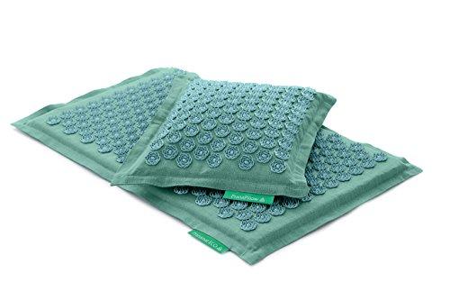 Set - 2 unidades: Pranamat ECO + PranaPillow, La esterilla y la almohada de masaje terapéutico (Turquesa / Turquesa)