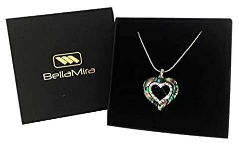 BellaMira Silver Abalone Heart Crystal Pendant Necklace With Natural Paua Shell Jewellery for Girls Women Gift