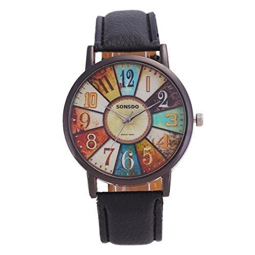 DEELIN Damen Uhren Sommer Harajuku Graffiti Muster Lederband Analoge Quarz Mode Armbanduhren (Schwarz)