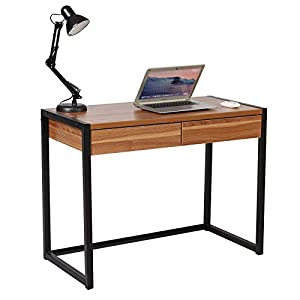 WOLTU® Schreibtisch TSG27dc Computertisch Bürotisch Arbeitstisch PC Laptop Tisch, in Melamin, mit 2 Schubladen, aus Holz…