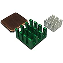 GorillaPi Heatsink For Raspberry Pi 3 & Pi 2 Model B. 3Pc Set (x1 copper x2 aluminium) With Pre Installed Heatsink Adhesive Offering a Significant Cooling Advantage.