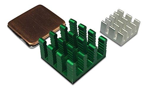 Gorillapi Dissipateur thermique pour Raspberry Pi 3et Pi 2modèle B. 3PC Ensemble de cuivre (x1 /X2) en aluminium avec Pre adhésif appliqué Dissipateur thermique offrant un Avantage de refroidissement Significatif
