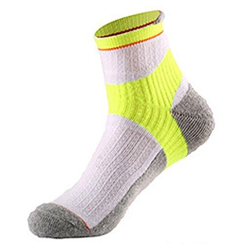 Aiyuda da uomo cotone lavoro confortevole Athletic tutti gli sport calzini imbottito color per corsa, ciclismo, Uomo, 1 pair of White Yellow, One Size fits for Men UK 5 to UK 7.5