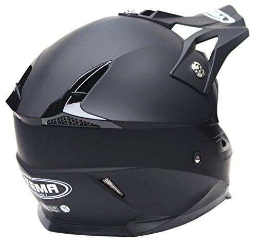 Motocross Motorradhelm Downhill Fullface Helm - Yema YM-915 Cross DH Enduro Quad Mountainbike BMX MTB Helm ECE für Damen Herren Erwachsene-Schwarz Matt-L - 3
