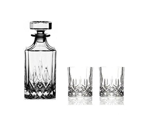 Double Old Fashioned Gläser (3Opera Maison italienischem Kristallglas Whisky Dekanter Set bestehend aus; 75cl Whisky Dekanter & 2x Double Old Fashioned Whisky Tumbler Gläser)