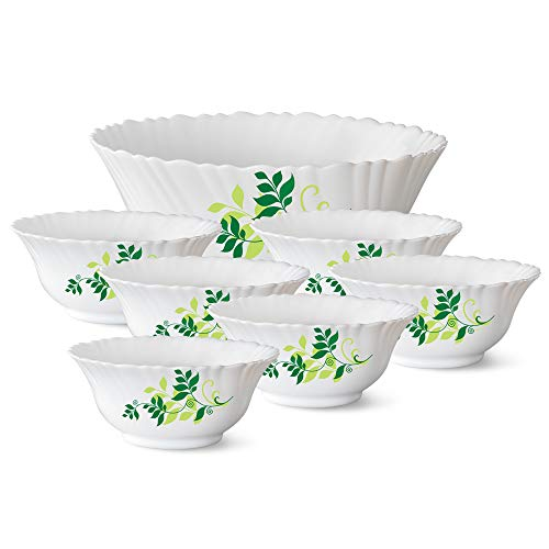 Larah by Borosil Fern Opalware Pudding Set, 7-Pieces, White
