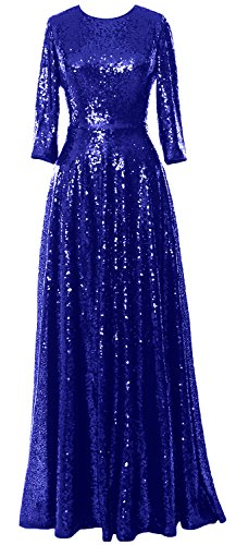 MACloth Elegant 3/4 Sleeve Sequin Evening Gown Vintage Mother of the Bride Dress Royal Blue