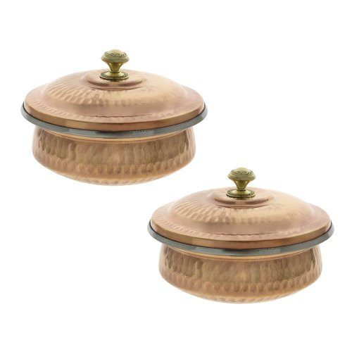 Dinnerware Indian Set Of 2 Serving Bowl Copper Tureen With Lid 700 Ml