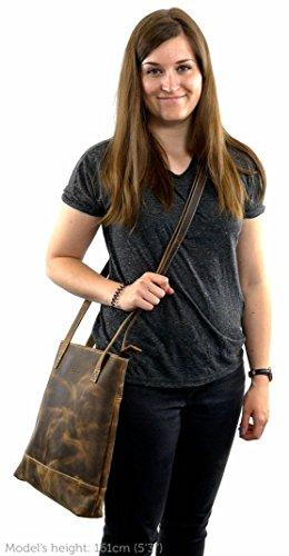 Gusti Pelle studio ''Jill'' Borsetta a Tracolla Shopper City Bag Tempo Libero Borsa a Mano Borsa in Cuoio Shopping Alla Moda Vera Pelle Marrone 2H23-20-5