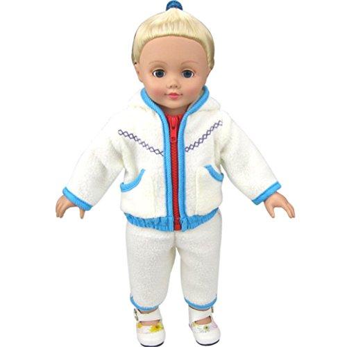 HKFV Puppenkleider Dicke weiße Fleece Hoodie Hosen Outfits Jacke Anzug für 18