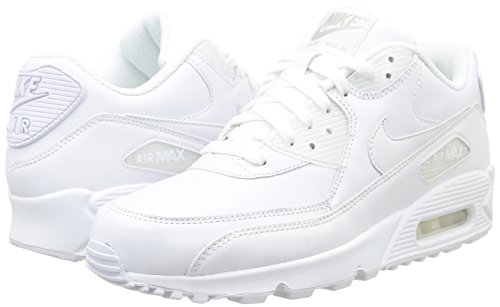Nike Air Max 90 Leather Herren Sneakers, weiß (whitewhite), 44 EU