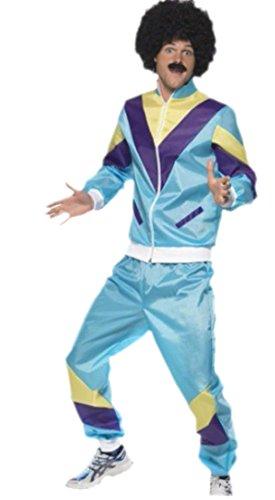 Fancy Ole - Herren Männer Karnevalskomplett Kostüm 80er Jahre Jogginganzug , L, Mehrfarbig (Kostüme Für Männer 80)