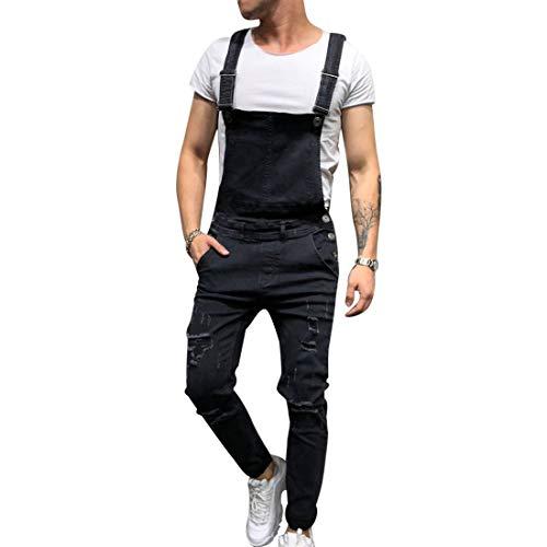 Dihope Herren Jeans Latzhose Skinny Fit Lang Jeanshose Destroyed Denim Overalls Streetwear Hosenträgerhose