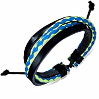 Urban Male Black Leather & Plaited Multi Colour Strand Surfer Style Bracelet For Men