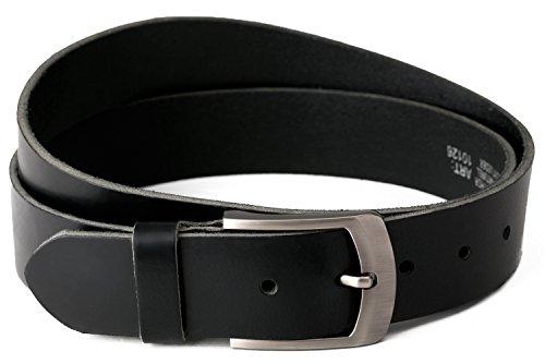 Nero Cintura 100% pelle di bufalo, 40 mm di larghezza e circa 3-4 mm di spessore, accorciabile, cintura, cintura in pelle, cintura per abito uomo, cintura per jeans, #10125 (waist size (Bundweite) 135cm)