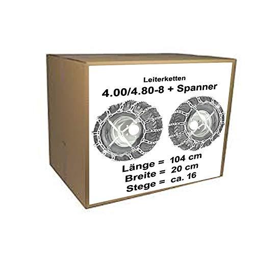 4.00/4.80-8 Schneeketten + Spanner für Schneefräsen Rasentraktor Aufsitzmäher für Reifen bez. 4.00/4.80-8