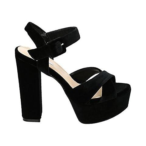 Damen Riemchen Abend Sandaletten High Heels Pumps Slingbacks Velours Satin Peep Toes Party Schuhe Bequem G7 (36, Schwarz 50)