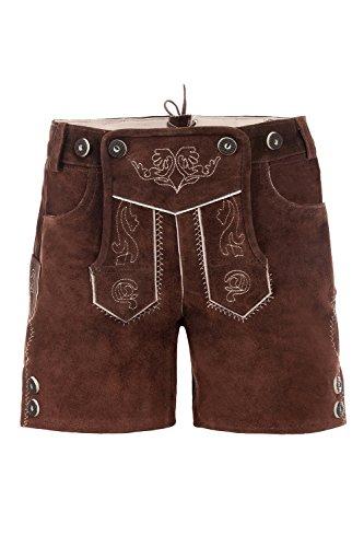 Bayerische Kinder Trachten-Leder Hose kneebound oder Hose kurz für Kinder, Mädchen und Jungen, farbe -Braun,128 (Leder-hose Für Jungen)