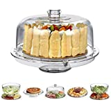 FEELING MALL Acrylic Cake Stand Multifunctional Serving Platter and Cake Plate with Dome (6 Uses)