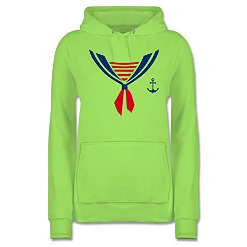 Shirtracer Karneval & Fasching - Seefahrer Kostüm Halstuch - L - Limonengrün - JH001F - Damen Hoodie East Coast Marine