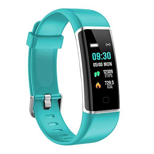 moreFit Fitness Armband Kinder, Wasserdicht IP67 GPS Fitness Tracker Farbbildschirm Aktivitätstracker Schrittzähler Uhr mit Stoppuhren Vibrationsalarm Anruf SMS Beachten für Damen Herren Kinder, Grün