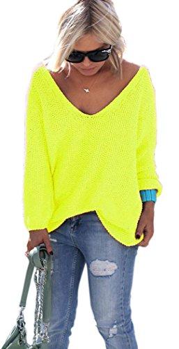 NEON Pink, Gelb, Rosa Pullover mit V-Ausschnitt Urlaub Einheitsgröße S M (Neon Gelb)