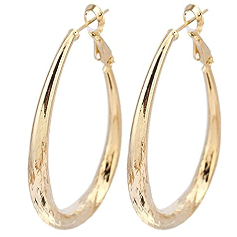 Fashion Women Golden Gold Plated Oval Hoop Big Earrings Copper Ear Studs