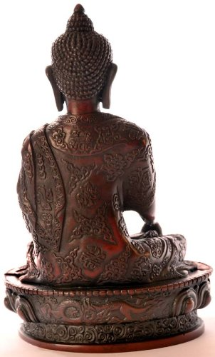 Estatua de Buda–Shakyamuni Figura de Buda Resin 19cm rotbraun 5