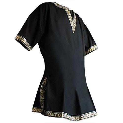 Tunika mit kurzem Arm, schwarz, Größe XXL Mittelalter