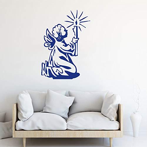 yiyiyaya Wandtattoo Engelchen Mit Kerze Gebet Wandaufkleber Wohnzimmer Dekoration Kreative Moderne Poster Wohnkultur Kunst 42 * 59 cm