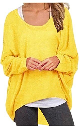 Meyison Damen Lose Asymmetrisch Sweatshirt Pullover Bluse Oberteile Oversized Tops T-Shirt Helles Gelb XXL