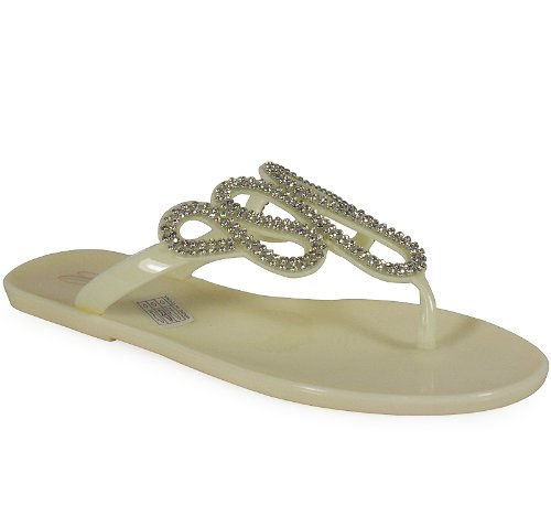 Loudlook Neuen Frauen Damen Jelly Gelees Buckle Toe-Post Wohnung Strand-Sommer-Sandalen Schuhe Gr??e 3-8 White