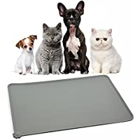 "Himi Silicone Pet Food Mat 19""x12"" - FDA Silicone Waterproof Dog bowl mat, Non Slip Dog bowl Pet Food Mat Placemet Tray - Pet Bowl Feeding Mat - Small and large dog food mat - Pet Bowl Tray(Grey)"