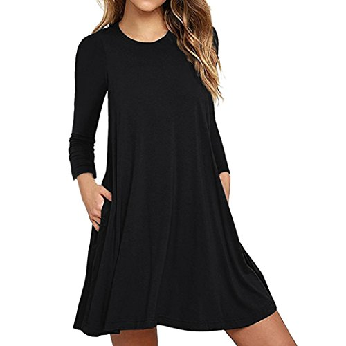 OVERDOSE Mode Damen Langarm Tasche Casual locker T-Shirt Kleid Abend Party Kleid Blusenkleid O-Neck Basic Mini Dress(A-Black,EU-40/CN-L) -