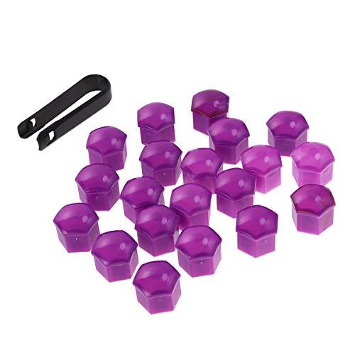 Vosarea 21 en 1 Boulon écrou de Roue Capuchons Protection Hexagonal pour écrous de Roue Universel Cache Vis écrou de Protection avec Pince Violet 21mm