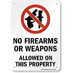 """Smartsign Plastique Sign, Legend """"sans armes à feu ou des armes Autorisé sur cette Propriété"""" avec Graphic, 25,4cm de hauteur x 17,8cm de large, Noir/rouge sur blanc"""