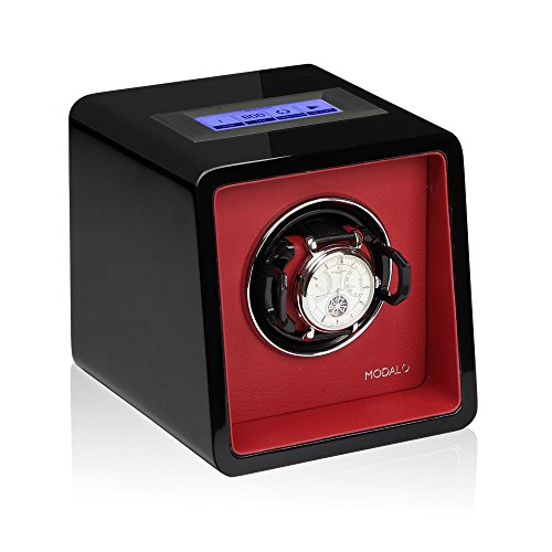 Modalo Saturn MV3 Tresor Watch Winder for 1 Automatikuhre 1701143 in Red / Black