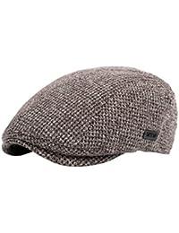 BESBOMIG Hombres de Estilo Newsboy Casquillo Plano Sombreros Boina -  Newsboy Moda Vintage Estilo Británico Casquillo 73a7bd5814f