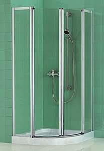 Duscholux DUSCHOsmart Viertelkreis-Duschkabine 90 cm,silber edelmatt, Einscheiben-Sicherheitsglas klar, Radius 50 cm