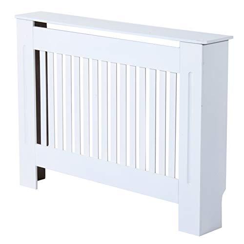 Homcom copritermosifone in legno mdf per calorifero 112 x 19 x 81cm bianco