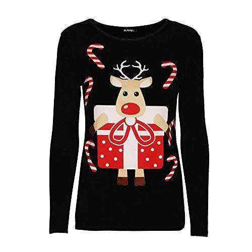 Berimaterry Damen Weihnachten Frauen Weihnachts Elk gedruckt Sweatshirt  Pullover Bluse T-Shirt 88abc56980